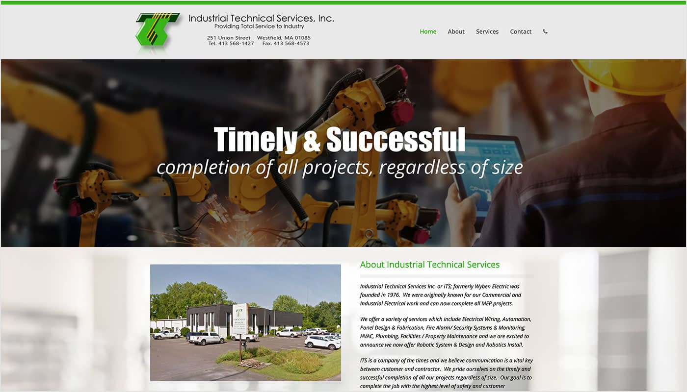 Industrial Technical Services custom WordPress web design, website design Westfield MA, branding Westfield MA, logo design Westfield MA, social media marketing Westfield MA