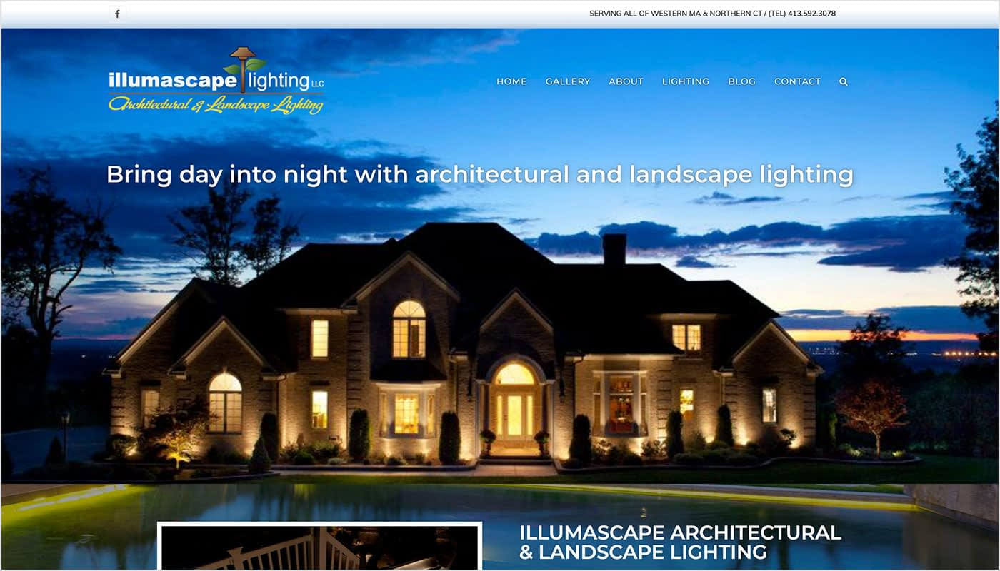 Illumascape Landscape Lighting website, web designer MA, web designer serving CT, photography services, videography services, marketing agency, full service marketing agency