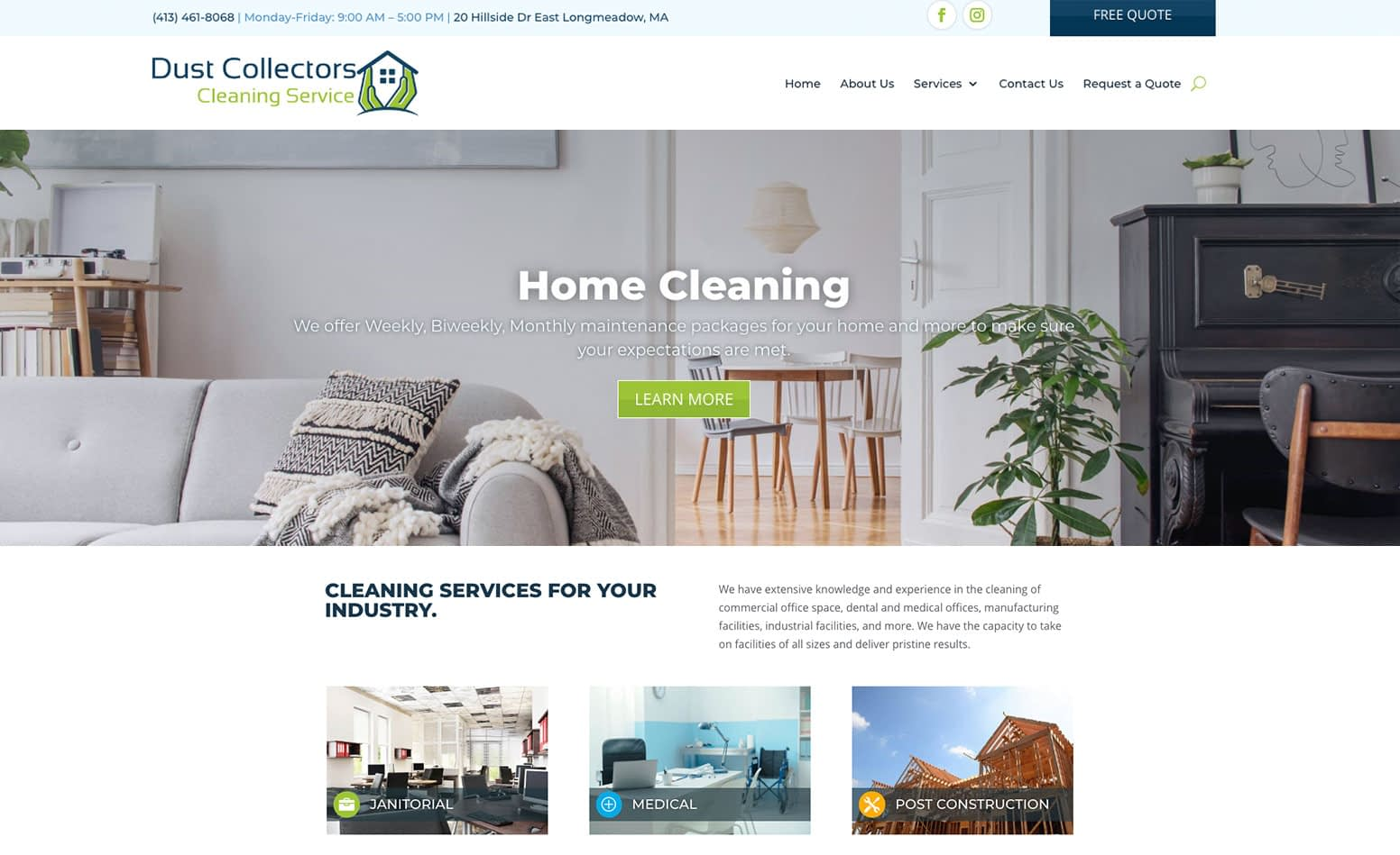 Dust Collectors Cleaning Service website, web design company MA, web design company Western MA, web design company CT, marketing agency CT