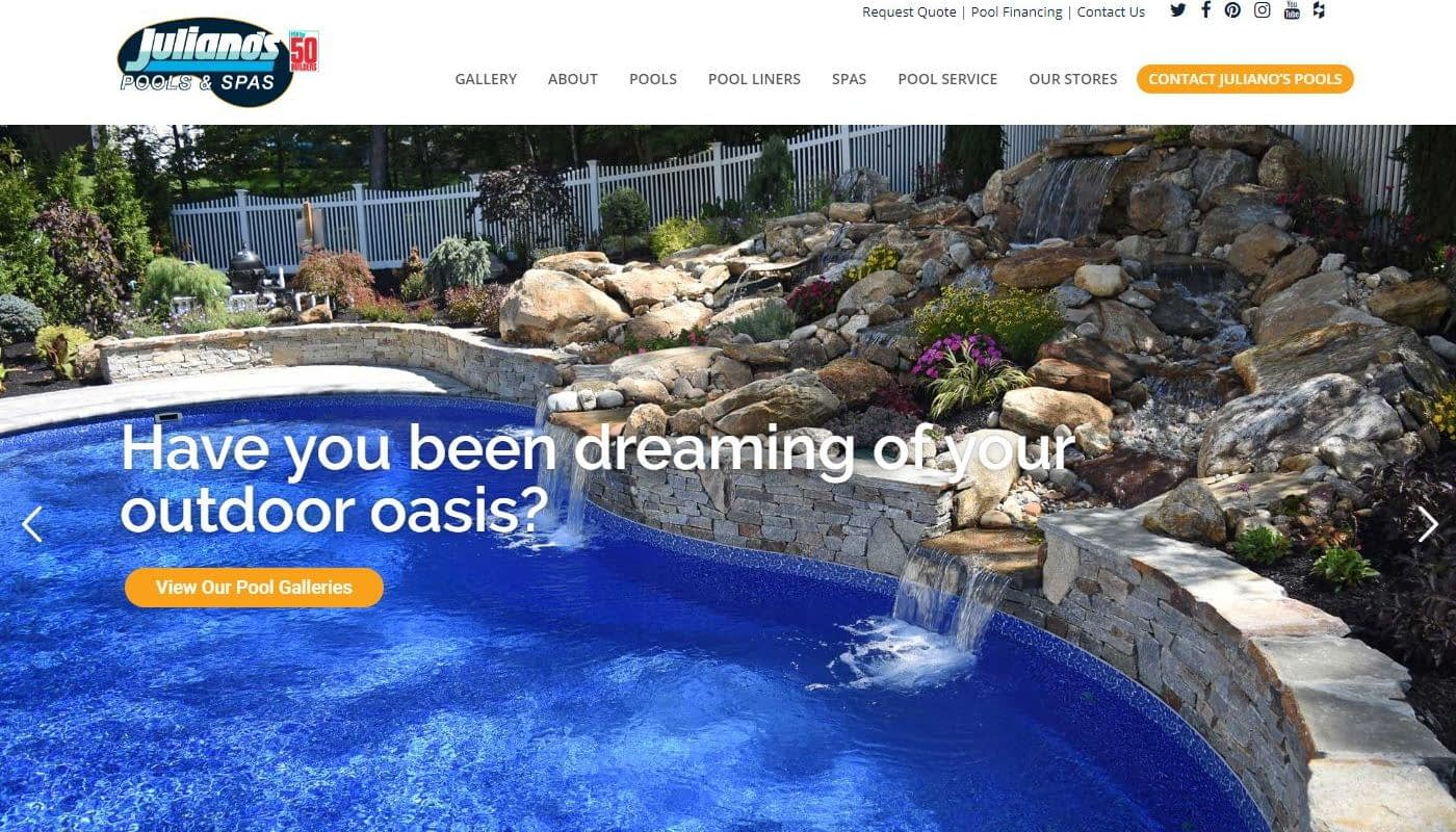 Julianos Pools - Web Design Vernon CT