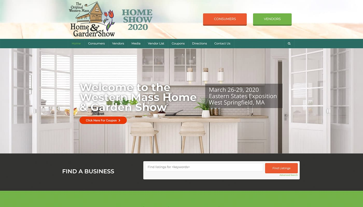 Western Mass Home Show Custom WordPress Website Design, marketing agency serving Northern CT, marketing agency serving MA, local marketing company