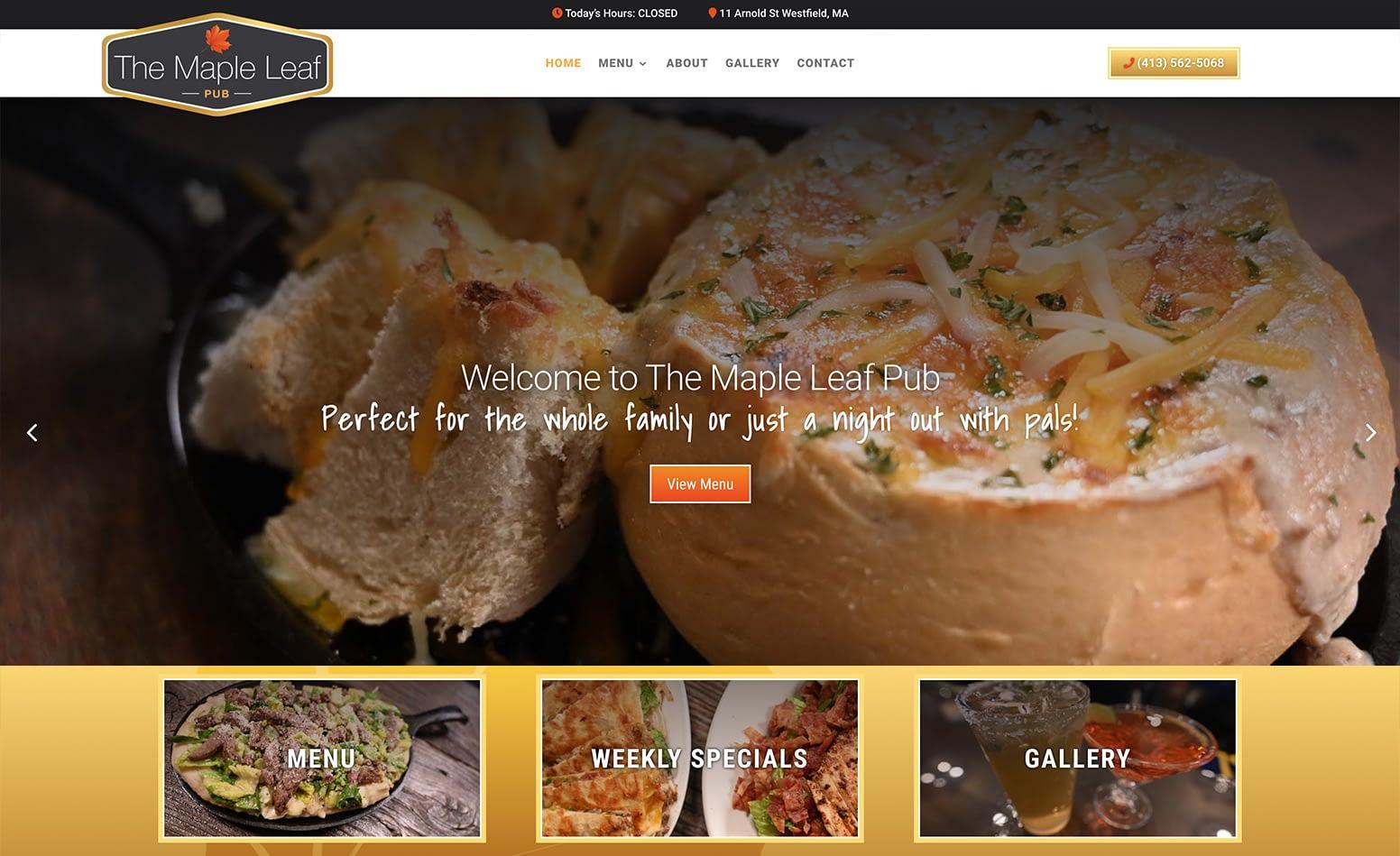 The Maple Leaf Pub custom website design, logo design, branding, web design Western MA, branding Western MA