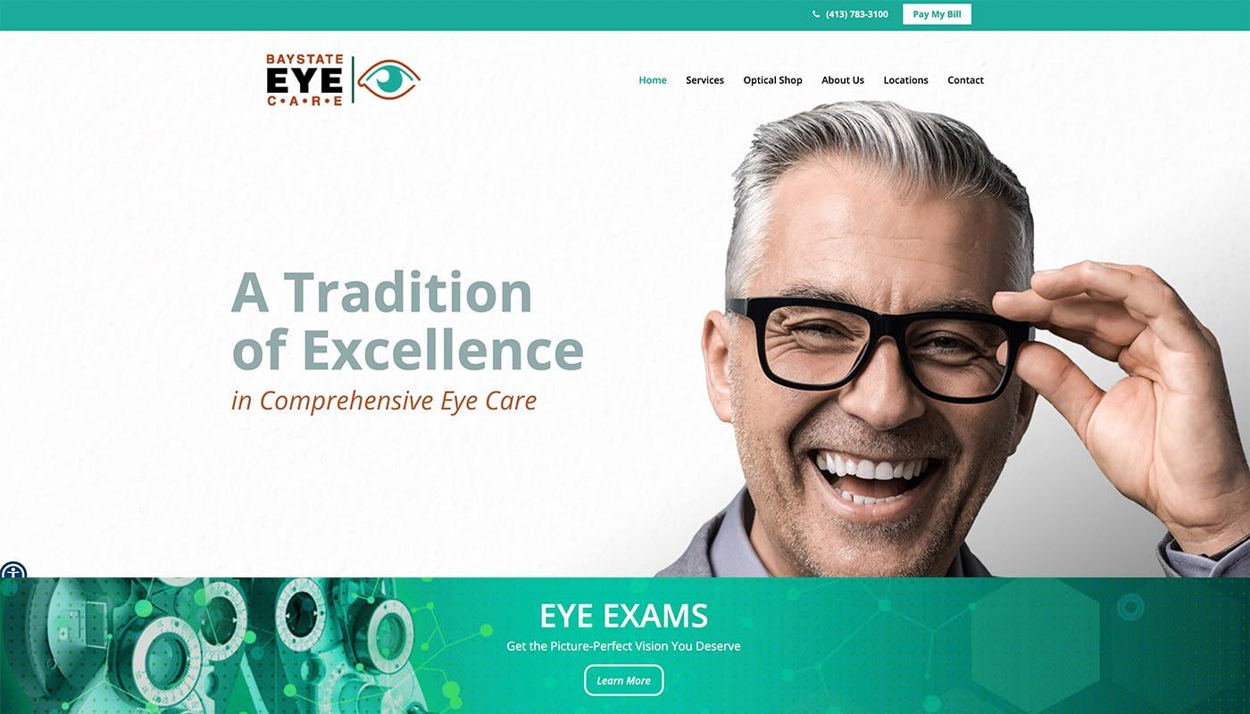 Bay State Eye Care Custom WordPress Website Design, digital marketing agency Western MA, digital marketing agency Northern CT, marketing services, logo design