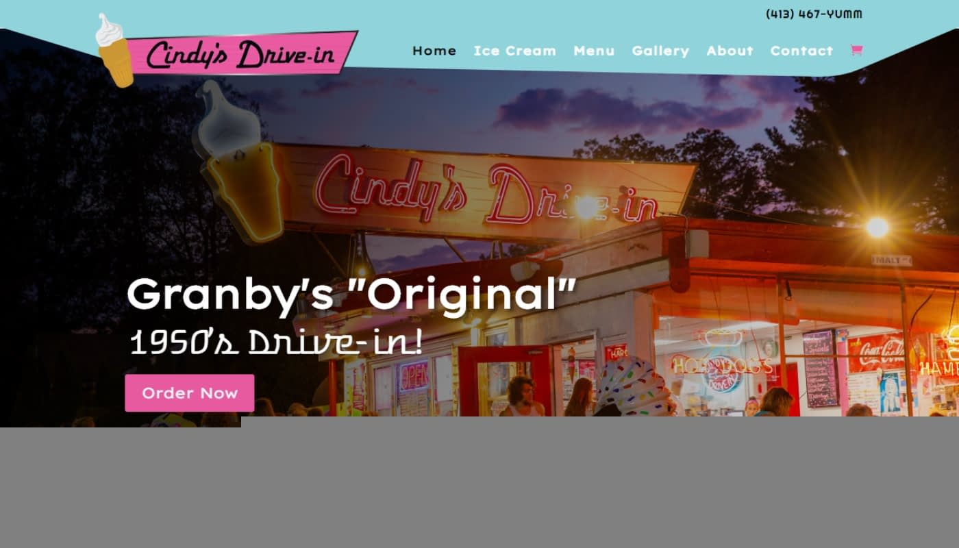 cindy's drive-in new wordpress mobile responsive website design in western mass, custom web design Massachusetts, graphic design MA, marketing company Western MA
