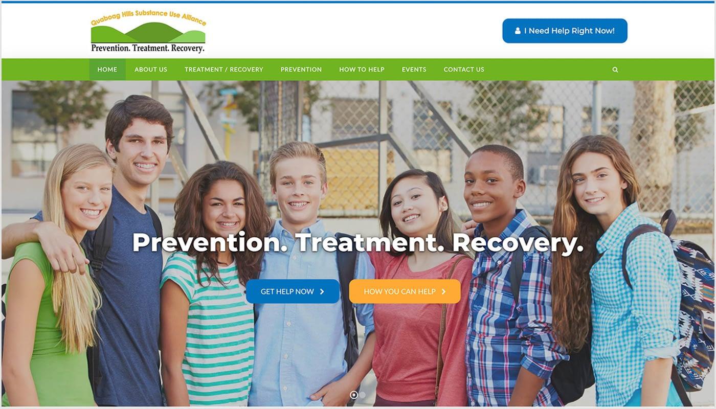 Quaboag Hills Substance Use Alliance website, custom website design Massachusetts, custom website design Connecticut, branding, graphic design Western MA, digital advertising Western MA