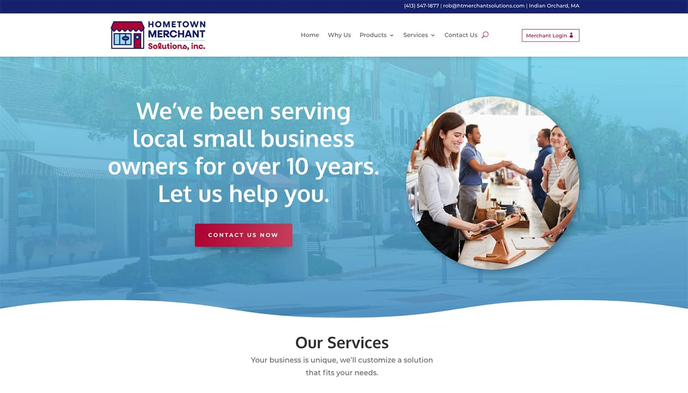 Hometown Merchant Solutions website, WordPress web design MA, website design Charleston SC, branding MA, graphic design MA, marketing agency