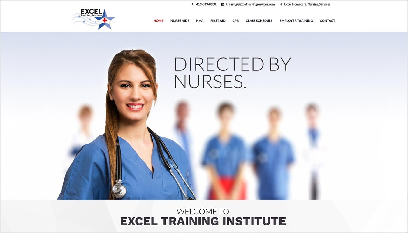 Excel Training Institute website, custom web design Western MA, website design CT, logo design MA, marketing agency Massachusetts, market agency Western MA