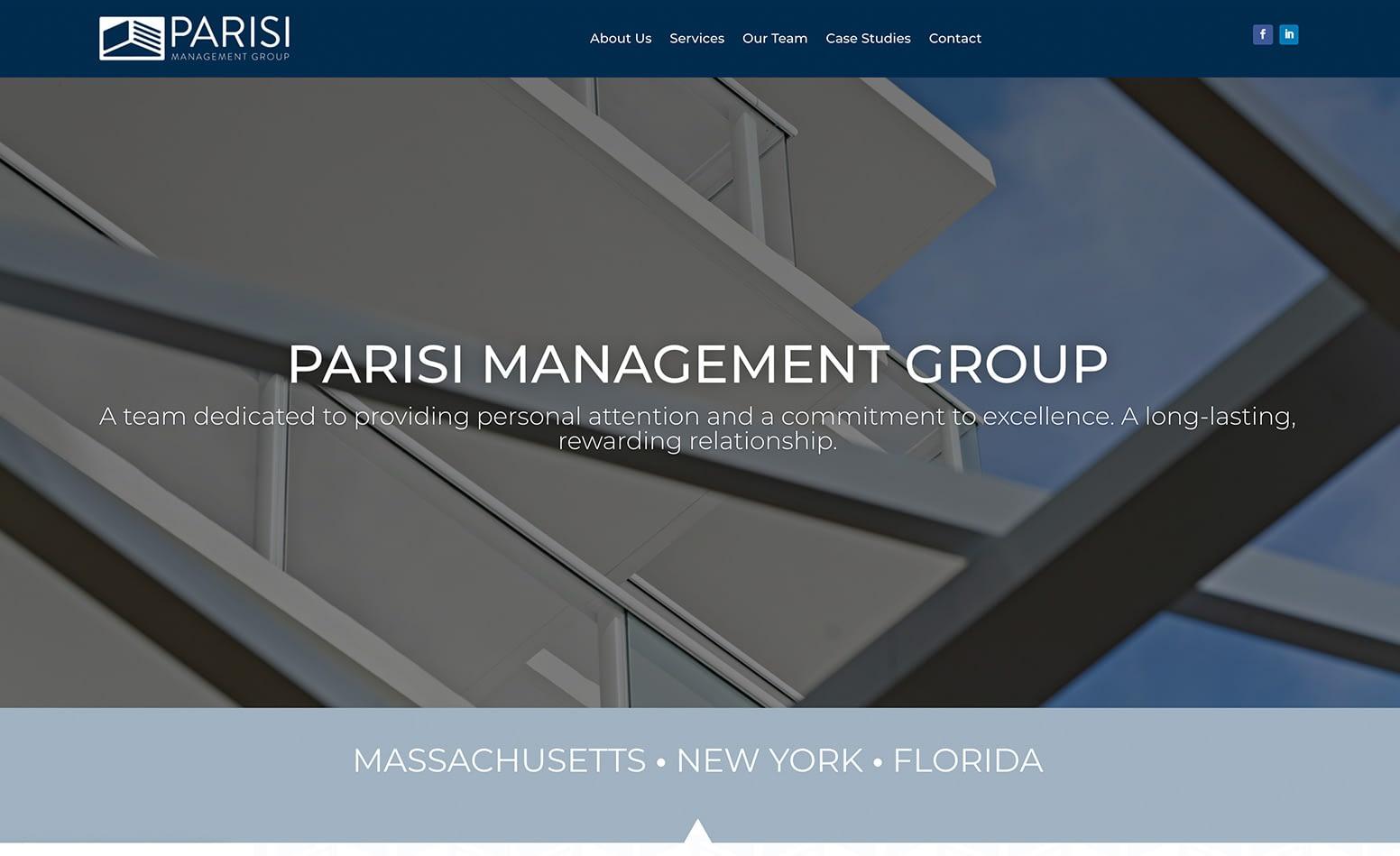 Parisi Management Group website, custom website design Western MA, website development Northern CT, marketing agency Massachusetts