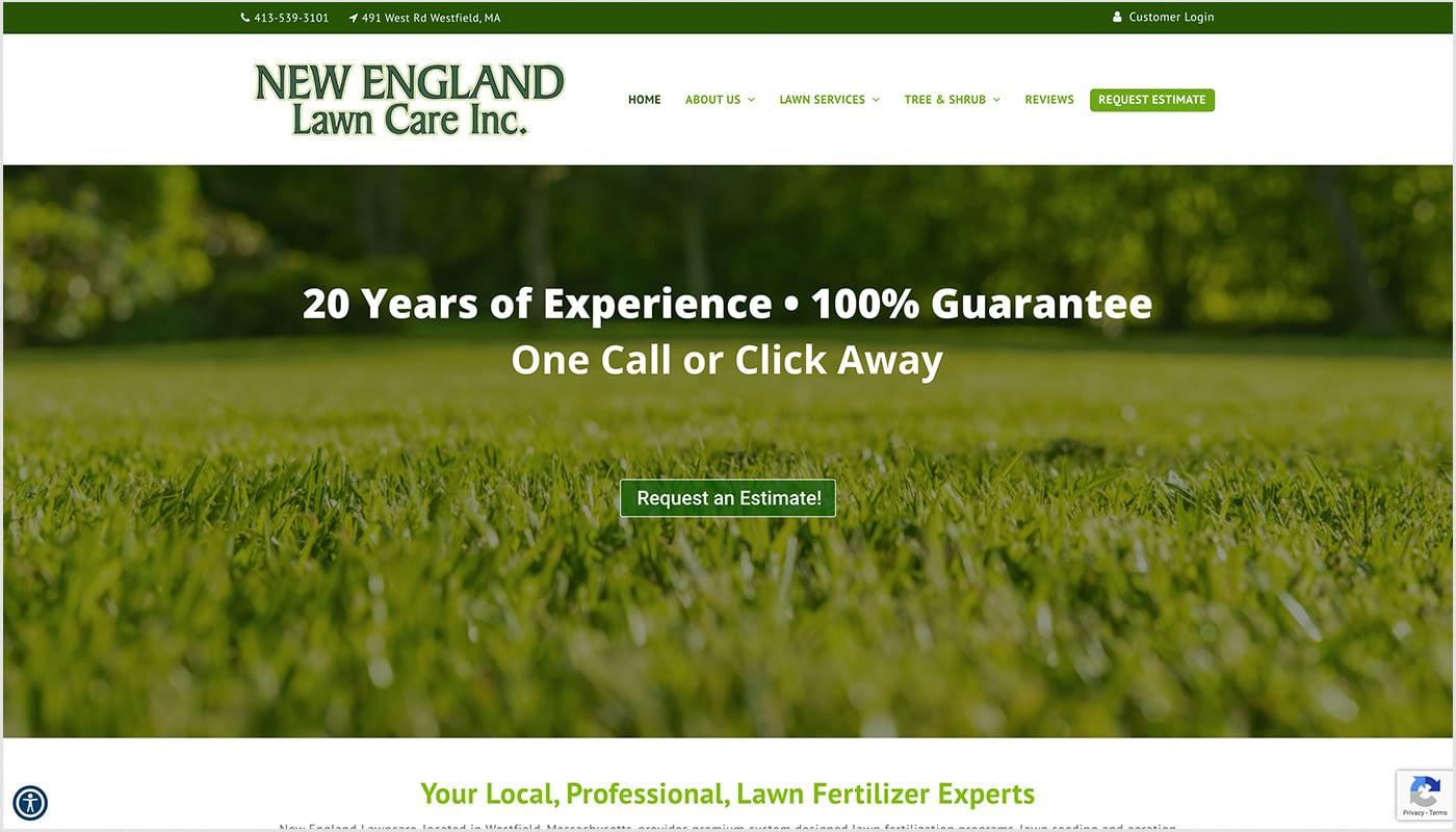 New England Lawn Care website, digital advertising agency MA, marketing agency Western MA, logo design CT, branding