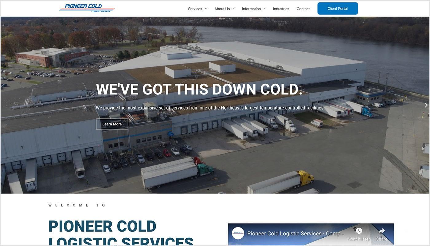 Pioneer Cold Logistic Services website, web designer Western MA, marketing agency, digital marketing agency MA, digital marketing agency CT, graphic design services